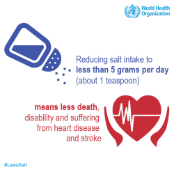 Reducing salt intake to less than 5 grams per day means less death, disability, and suffering from heart disease and stroke.