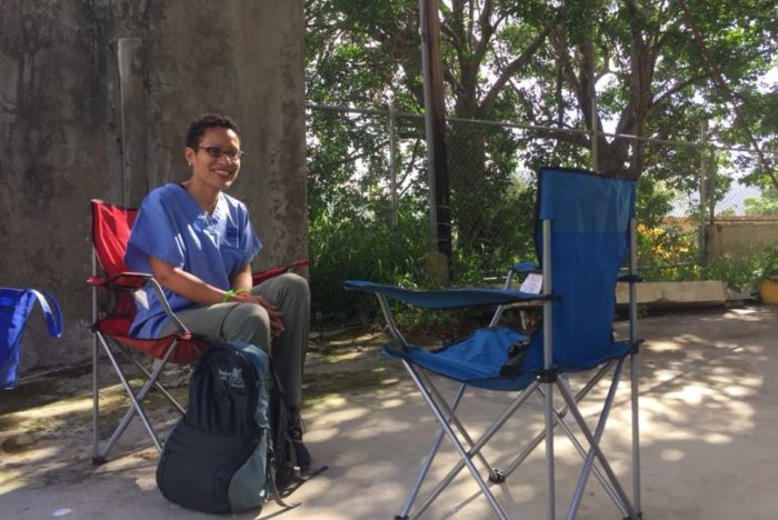 Lisa Fortuna sets up for a mental health consultation visit in San German, Puerto Rico. Photo courtesy Lisa Fortuna.