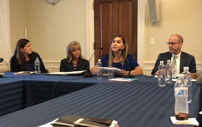 Alisa Craig and Melany Gavulic (left), from Hurley Medical Center, join Monica Lowell and Douglas Brown (right), from UMass Memorial Health Care, to share their food insecurity initiatives with congressional staff on Capitol Hill.