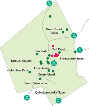 Map of Veggie Mobile route and community gardens