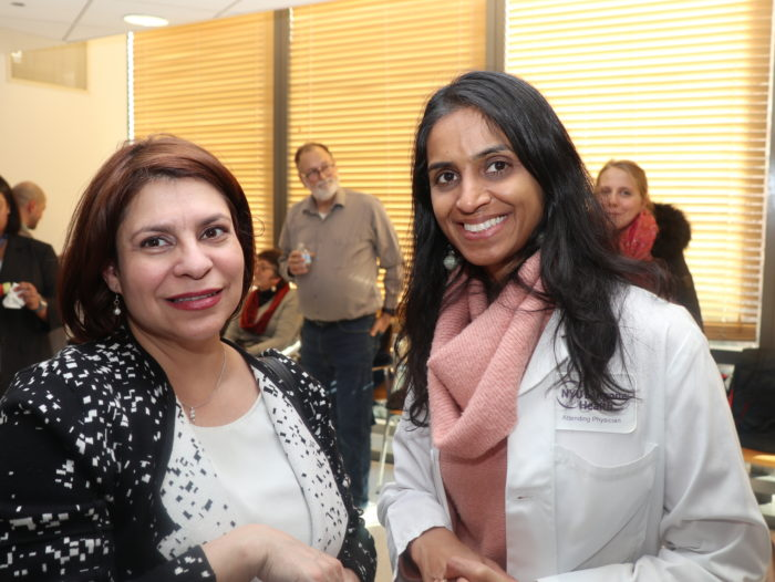Sapana Shah, MD, right, at the Plant-based Lifestyle Medicine Program announcement in December 2018.